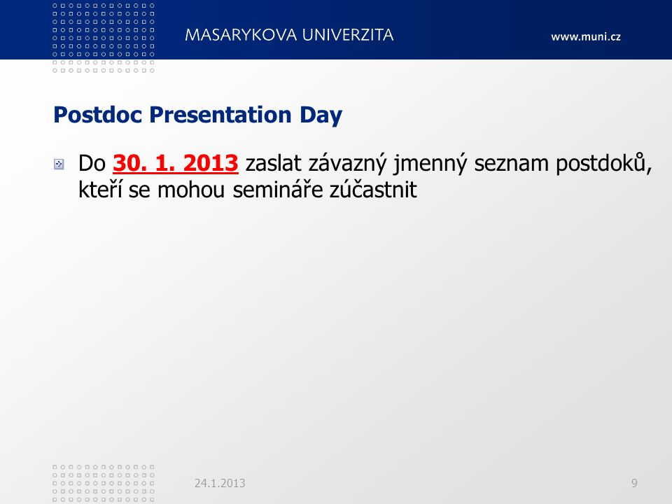 Postdoc Presentation Day Do 30. 1.