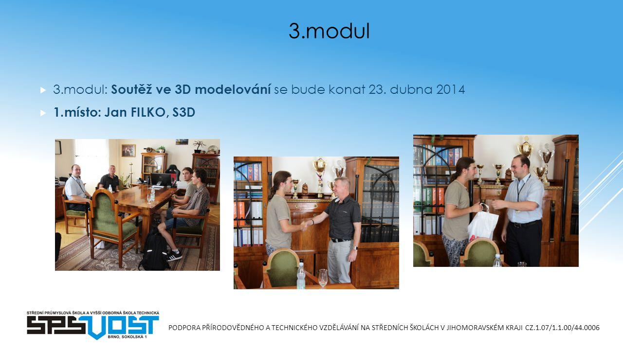 PODPORA PŘÍRODOVĚDNÉHO A TECHNICKÉHO VZDĚLÁVÁNÍ NA STŘEDNÍCH ŠKOLÁCH V JIHOMORAVSKÉM KRAJI CZ.1.07/1.1.00/44.0006  3.modul: Soutěž ve 3D modelování se bude konat 23.