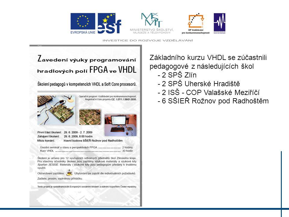 Základního kurzu VHDL se zúčastnili pedagogové z následujících škol - 2 SPŠ Zlín - 2 SPŠ Uherské Hradiště - 2 ISŠ - COP Valašské Meziříčí - 6 SŠIEŘ Rožnov pod Radhoštěm