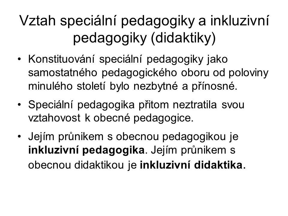 Vztah speciální pedagogiky a inkluzivní pedagogiky (didaktiky) Konstituování speciální pedagogiky jako samostatného pedagogického oboru od poloviny minulého století bylo nezbytné a přínosné.