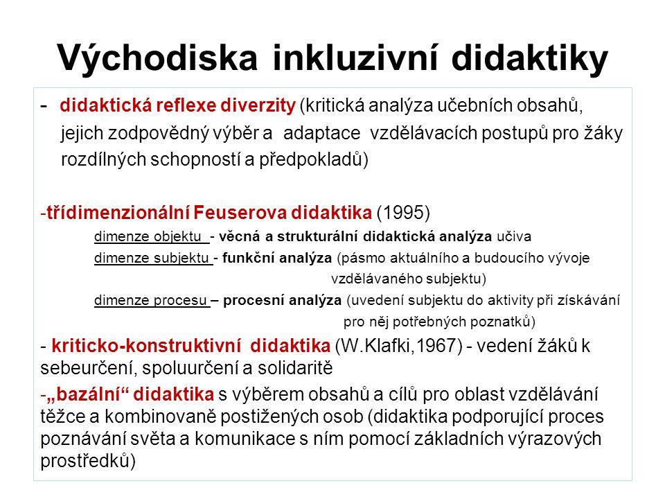 """Východiska inkluzivní didaktiky - didaktická reflexe diverzity (kritická analýza učebních obsahů, jejich zodpovědný výběr a adaptace vzdělávacích postupů pro žáky rozdílných schopností a předpokladů) -třídimenzionální Feuserova didaktika (1995) dimenze objektu - věcná a strukturální didaktická analýza učiva dimenze subjektu - funkční analýza (pásmo aktuálního a budoucího vývoje vzdělávaného subjektu) dimenze procesu – procesní analýza (uvedení subjektu do aktivity při získávání pro něj potřebných poznatků) - kriticko-konstruktivní didaktika (W.Klafki,1967) - vedení žáků k sebeurčení, spoluurčení a solidaritě -""""bazální didaktika s výběrem obsahů a cílů pro oblast vzdělávání těžce a kombinovaně postižených osob (didaktika podporující proces poznávání světa a komunikace s ním pomocí základních výrazových prostředků)"""