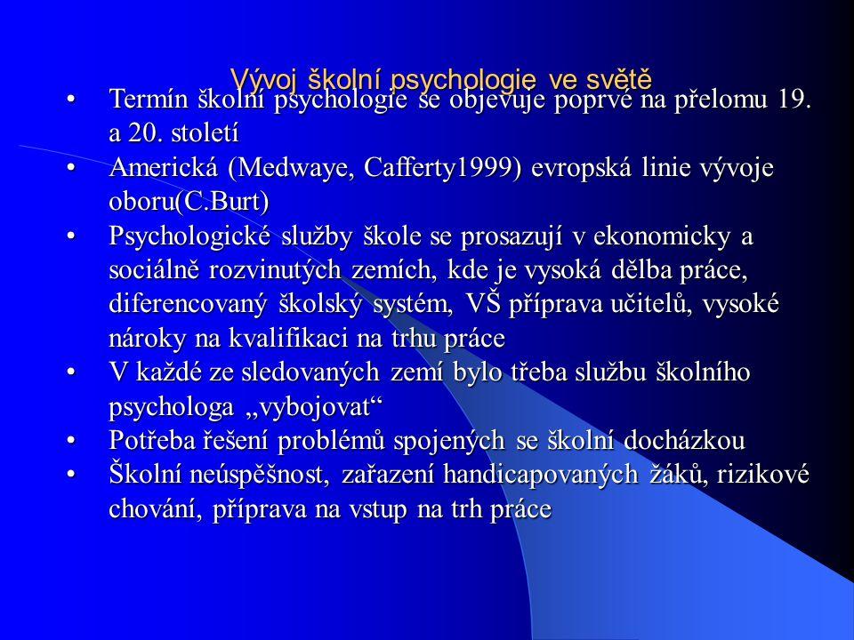 . 1.Psycholog pracující na jedné velké škole nebo na více školách Spolupráce s lékaři a sociálními pracovníkySpolupráce s lékaři a sociálními pracovníky Péče o běžnou žákovskou populaciPéče o běžnou žákovskou populaci Zlepšování vyučovacích metod a sociálního klimatu školZlepšování vyučovacích metod a sociálního klimatu škol 2.Britský model Koordinace služeb nabízených škole odbornou komunitouKoordinace služeb nabízených škole odbornou komunitou Psycholog jako součást školských úřadůPsycholog jako součást školských úřadů Koordinace prevence, poradenských aktivit, intervence, výzkumuKoordinace prevence, poradenských aktivit, intervence, výzkumu Reedukace, diagnostika, psychoterapieReedukace, diagnostika, psychoterapie Modely poskytovaných služeb