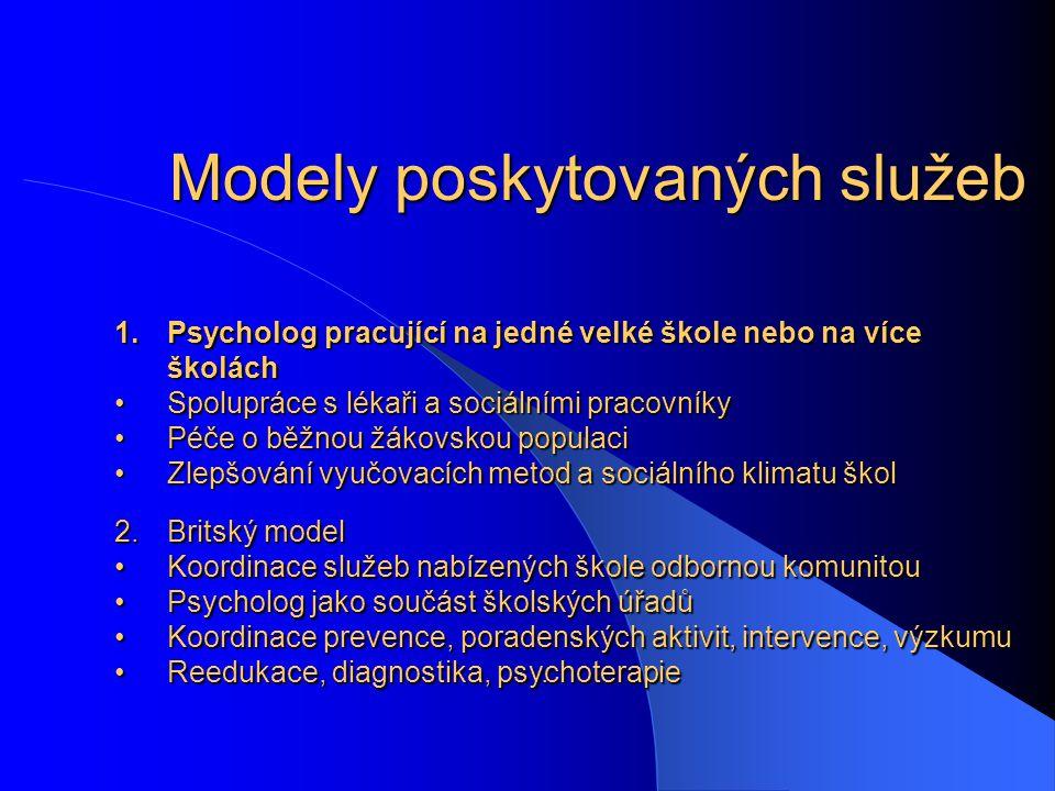 . 1.Psycholog pracující na jedné velké škole nebo na více školách Spolupráce s lékaři a sociálními pracovníkySpolupráce s lékaři a sociálními pracovní