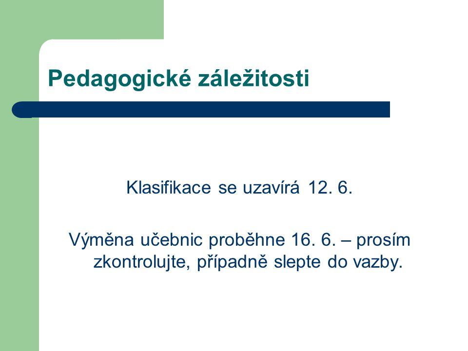 Pedagogické záležitosti Klasifikace se uzavírá 12.