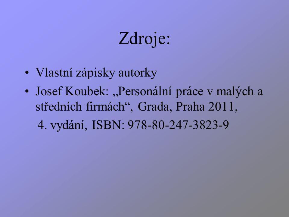 """Zdroje: Vlastní zápisky autorky Josef Koubek: """"Personální práce v malých a středních firmách , Grada, Praha 2011, 4."""