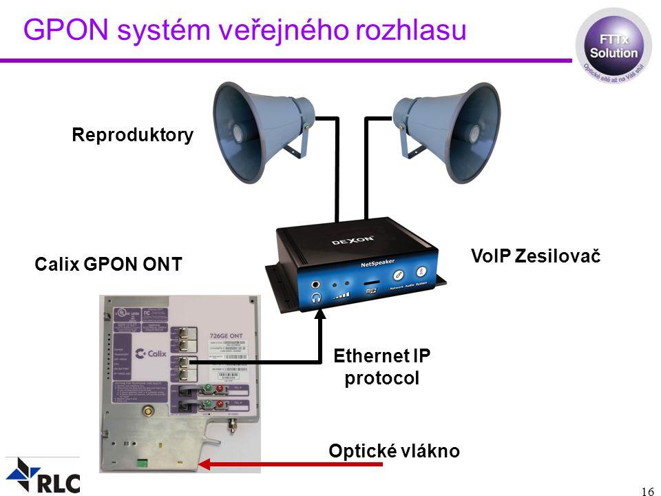 16 GPON systém veřejného rozhlasu Calix GPON ONT Optické vlákno Ethernet IP protocol VoIP Zesilovač Reproduktory