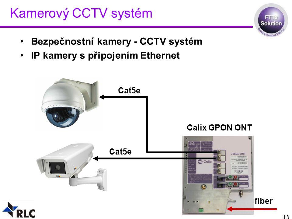 18 Kamerový CCTV systém Bezpečnostní kamery - CCTV systém IP kamery s připojením Ethernet Calix GPON ONT fiber Cat5e