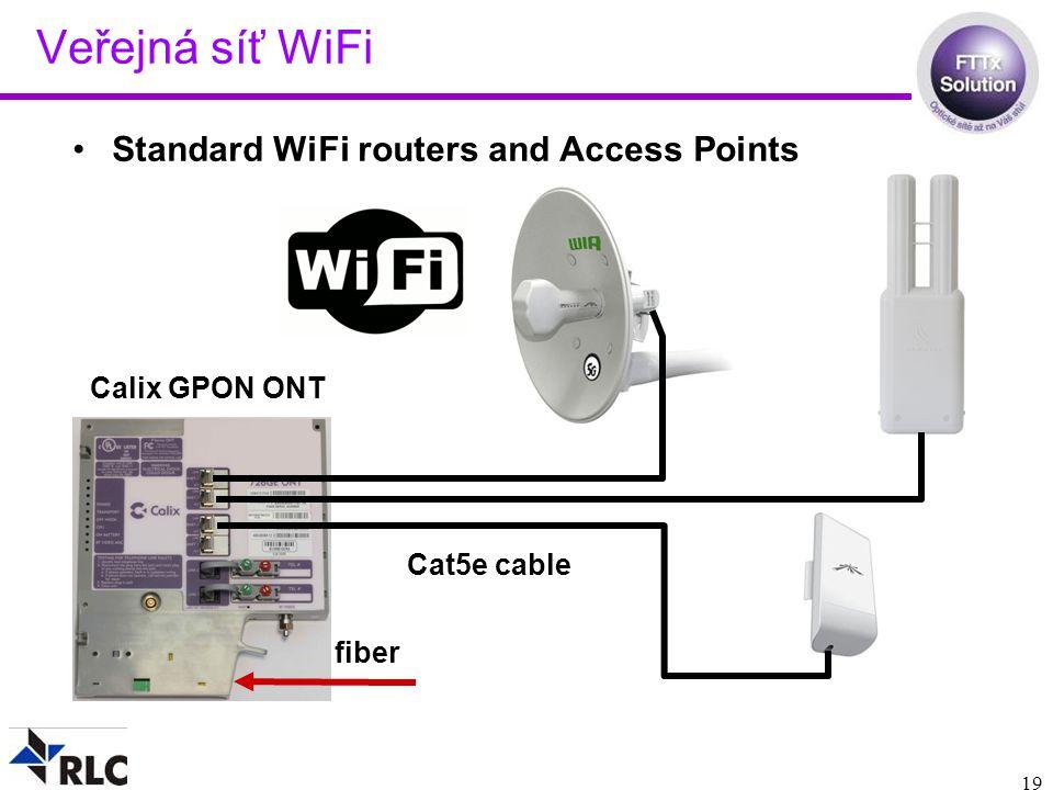 19 Veřejná síť WiFi Standard WiFi routers and Access Points Calix GPON ONT fiber Cat5e cable