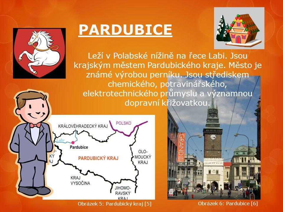 PARDUBICE Leží v Polabské nížině na řece Labi. Jsou krajským městem Pardubického kraje. Město je známé výrobou perníku. Jsou střediskem chemického, po