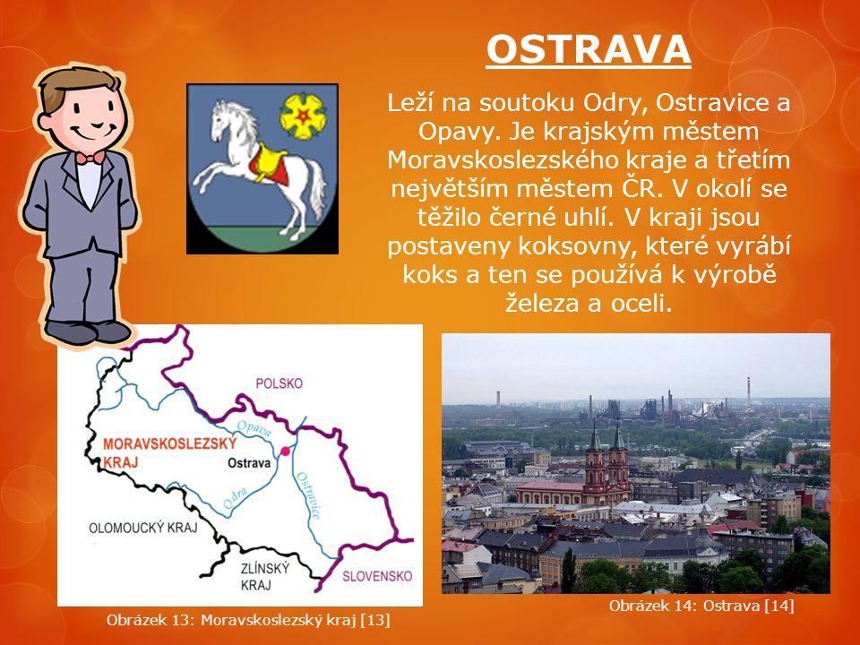 OSTRAVA Leží na soutoku Odry, Ostravice a Opavy. Je krajským městem Moravskoslezského kraje a třetím největším městem ČR. V okolí se těžilo černé uhlí