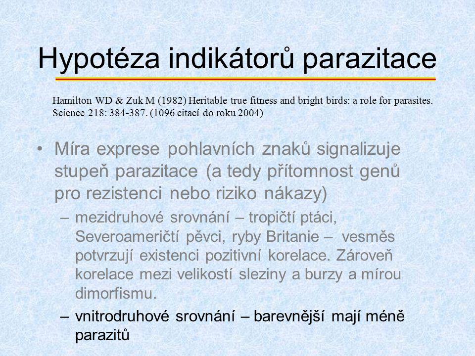 Hypotéza indikátorů parazitace Míra exprese pohlavních znaků signalizuje stupeň parazitace (a tedy přítomnost genů pro rezistenci nebo riziko nákazy)
