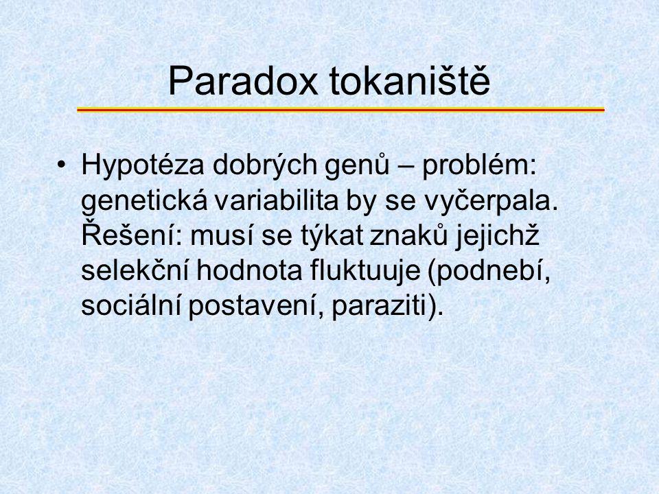 Paradox tokaniště Hypotéza dobrých genů – problém: genetická variabilita by se vyčerpala. Řešení: musí se týkat znaků jejichž selekční hodnota fluktuu
