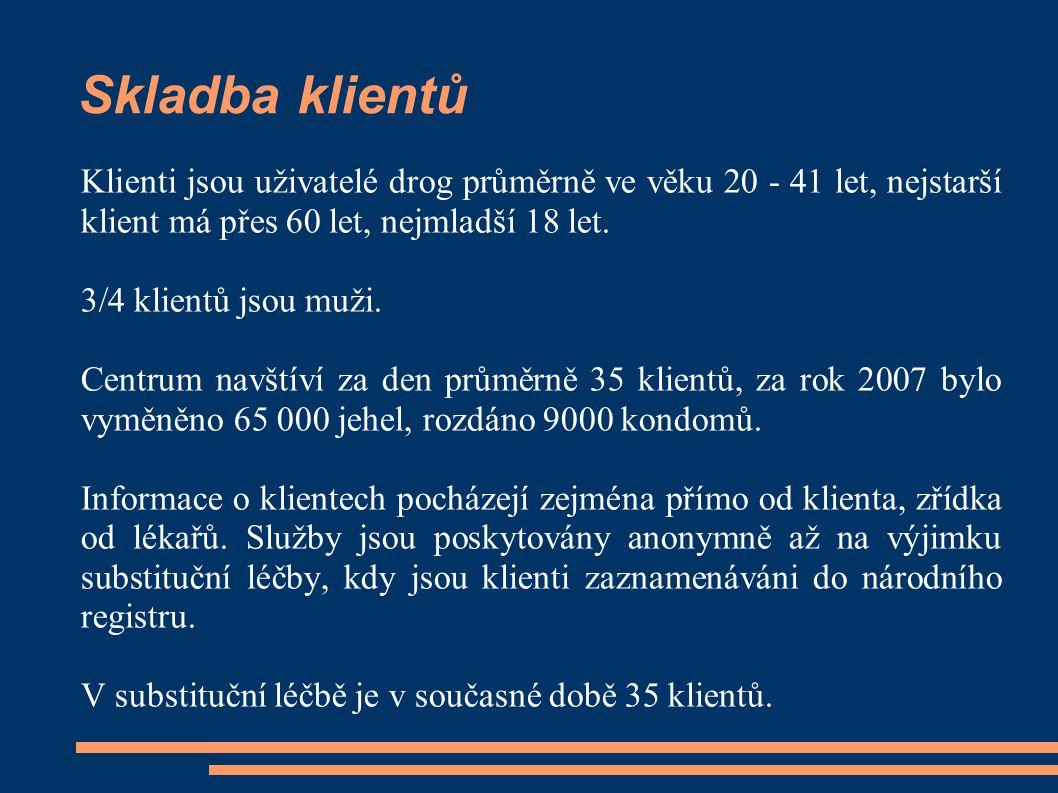 Skladba klientů Klienti jsou uživatelé drog průměrně ve věku 20 - 41 let, nejstarší klient má přes 60 let, nejmladší 18 let. 3/4 klientů jsou muži. Ce