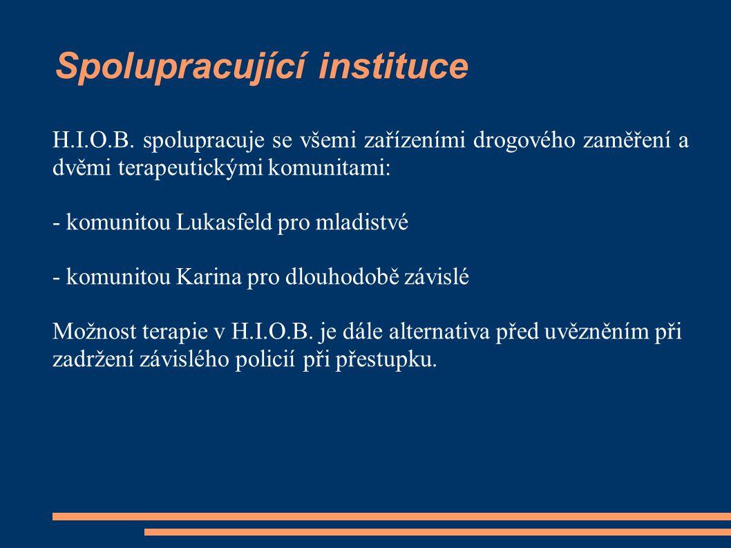 Spolupracující instituce H.I.O.B. spolupracuje se všemi zařízeními drogového zaměření a dvěmi terapeutickými komunitami: - komunitou Lukasfeld pro mla