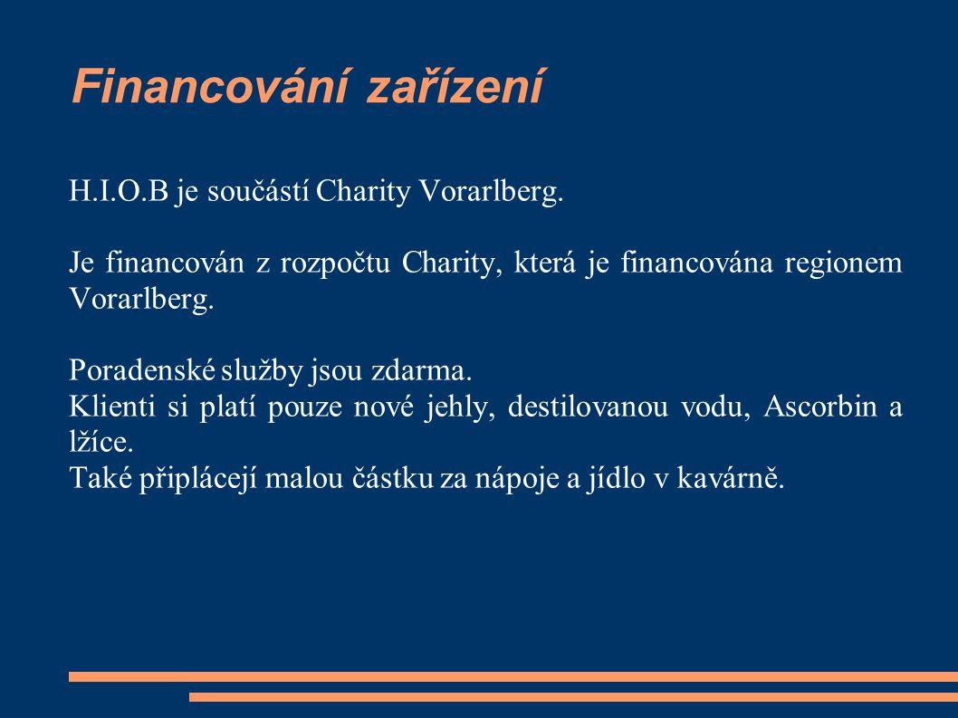 Financování zařízení H.I.O.B je součástí Charity Vorarlberg. Je financován z rozpočtu Charity, která je financována regionem Vorarlberg. Poradenské sl
