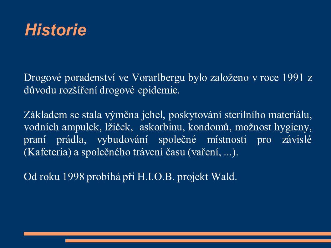 Historie Drogové poradenství ve Vorarlbergu bylo založeno v roce 1991 z důvodu rozšíření drogové epidemie. Základem se stala výměna jehel, poskytování