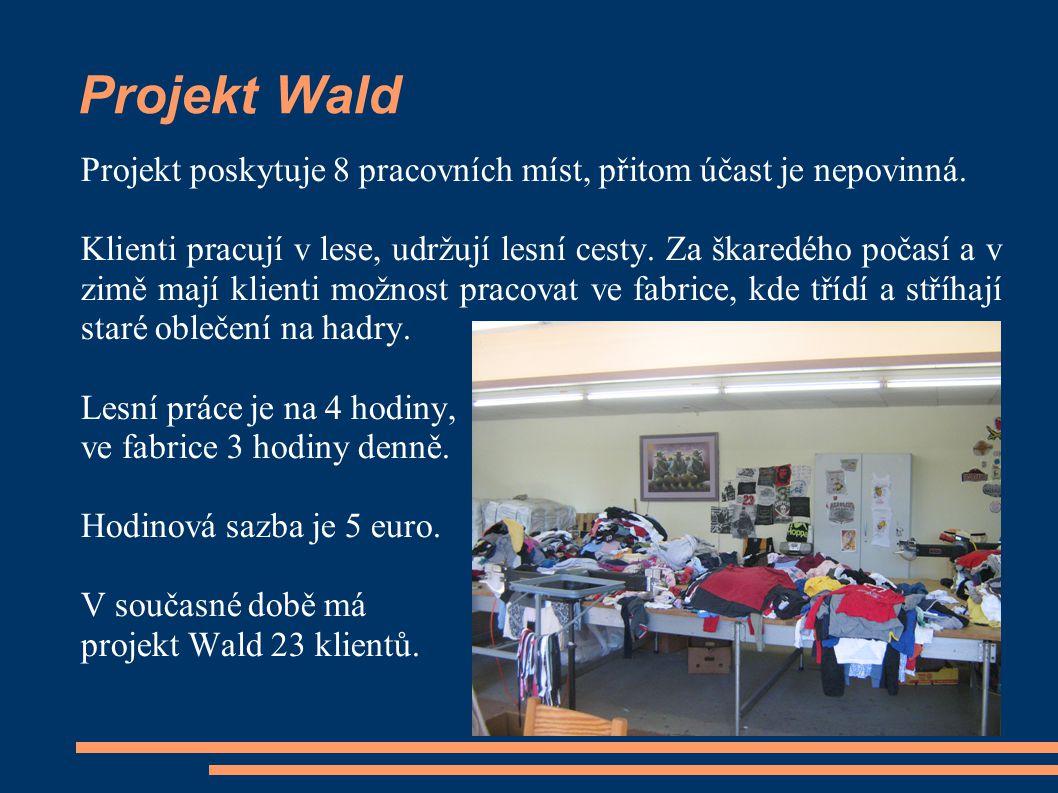 Projekt Wald Projekt poskytuje 8 pracovních míst, přitom účast je nepovinná. Klienti pracují v lese, udržují lesní cesty. Za škaredého počasí a v zimě