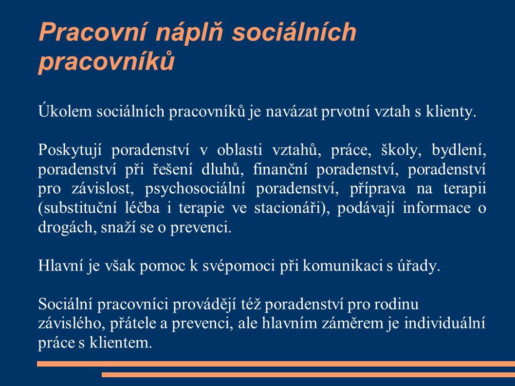 Pracovní náplň sociálních pracovníků Úkolem sociálních pracovníků je navázat prvotní vztah s klienty. Poskytují poradenství v oblasti vztahů, práce, š