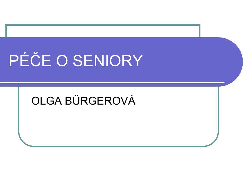 Národní program přípravy na stárnutí na období let 2008 až 2012 (Kvalita života ve stáří) Program vychází z předpokladu, že ke zvýšení kvality života ve stáří a k úspěšnému řešení výzev spojených s demografickým stárnutím : Aktivní stárnutí Prostředí a komunita vstřícná ke stáří Zlepšení zdraví a zdravotní péče ve stáří Podpora rodiny a pečovatelů Podpora participace na životě společnosti a ochrana lidských práv