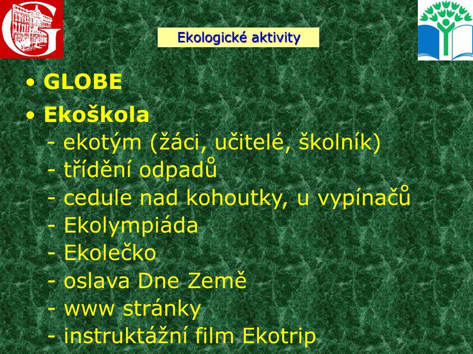 GLOBE Ekoškola - ekotým (žáci, učitelé, školník) - třídění odpadů - cedule nad kohoutky, u vypínačů - Ekolympiáda - Ekolečko - oslava Dne Země - www s