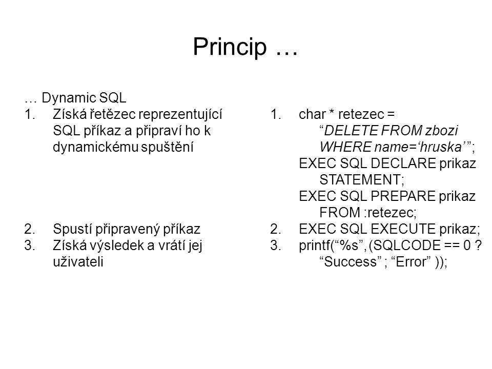 Příklad EXEC SQL BEGIN DECLARE SECTION ; char * retezec = DELETE FROM zbozi WHERE name='hruska' ; EXEC SQL END DECLARE SECTION ; EXEC SQL DECLARE prikaz STATEMENT; EXEC SQL PREPARE prikaz FROM :retezec; EXEC SQL EXECUTE prikaz; retezec je proměnná jazyka C, proto je v Embedded SQL používána s dvojtečkou prikaz je proměnná jazyka SQL, proto není v Embedded SQL používána s dvojtečkou