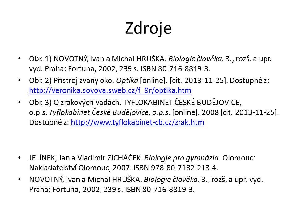 Zdroje Obr.1) NOVOTNÝ, Ivan a Michal HRUŠKA. Biologie člověka.