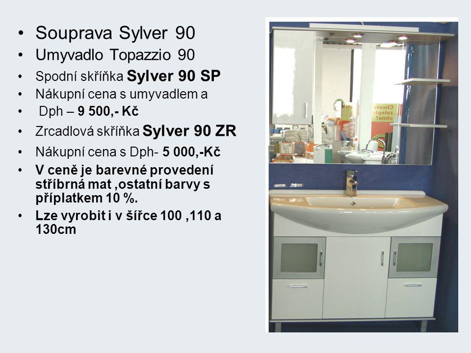 Souprava Sylver 90 Umyvadlo Topazzio 90 Spodní skříňka Sylver 90 SP Nákupní cena s umyvadlem a Dph – 9 500,- Kč Zrcadlová skříňka Sylver 90 ZR Nákupní cena s Dph- 5 000,-Kč V ceně je barevné provedení stříbrná mat,ostatní barvy s příplatkem 10 %.