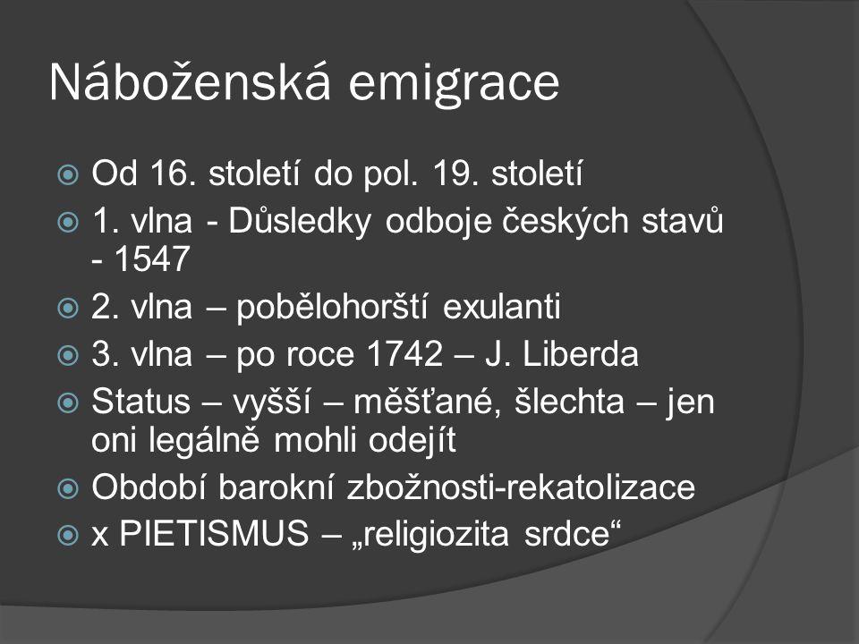 Náboženská emigrace  Od 16. století do pol. 19. století  1. vlna - Důsledky odboje českých stavů - 1547  2. vlna – pobělohorští exulanti  3. vlna