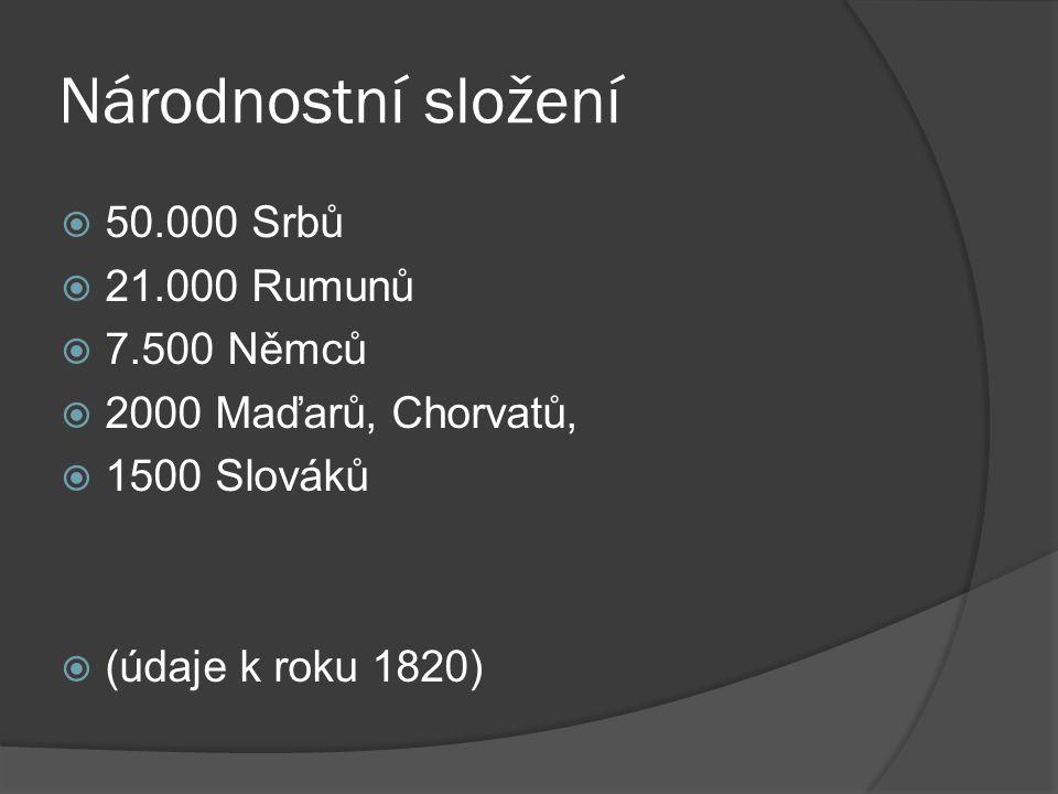 Národnostní složení  50.000 Srbů  21.000 Rumunů  7.500 Němců  2000 Maďarů, Chorvatů,  1500 Slováků  (údaje k roku 1820)