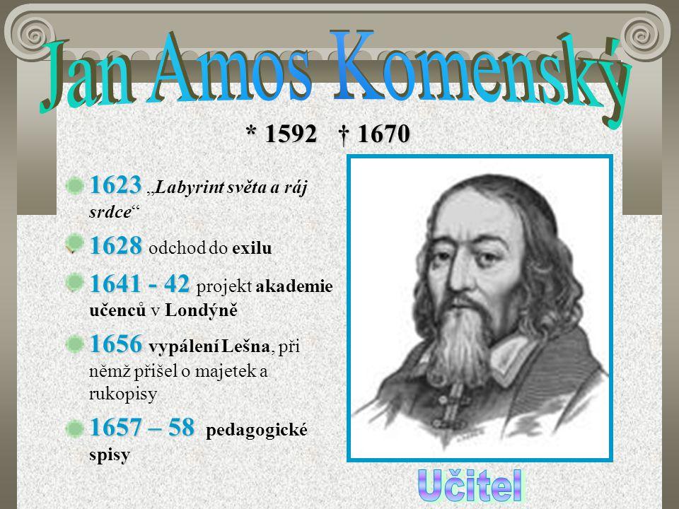 """* 1592 † 1670 1623 1623 """"Labyrint světa a ráj srdce"""" 1628 1628 odchod do exilu 1641 - 42 1641 - 42 projekt akademie učenců v Londýně 1656 1656 vypálen"""