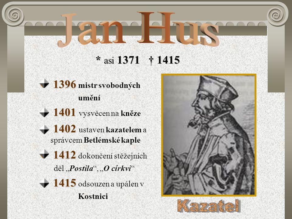 * asi 1371 † 1415 1396 1396 mistr svobodných umění 1401 1401 vysvěcen na kněze 1402 1402 ustaven kazatelem a správcem Betlémské kaple 1412 1412 dokonč