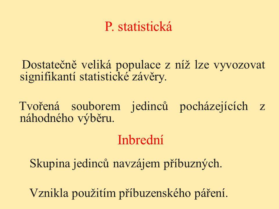 Dostatečně veliká populace z níž lze vyvozovat signifikantí statistické závěry. Tvořená souborem jedinců pocházejících z náhodného výběru. P. statisti