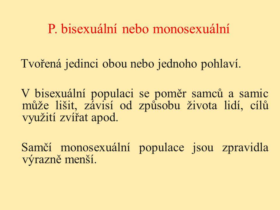 Tvořená jedinci obou nebo jednoho pohlaví. V bisexuální populaci se poměr samců a samic může lišit, závisí od způsobu života lidí, cílů využití zvířat