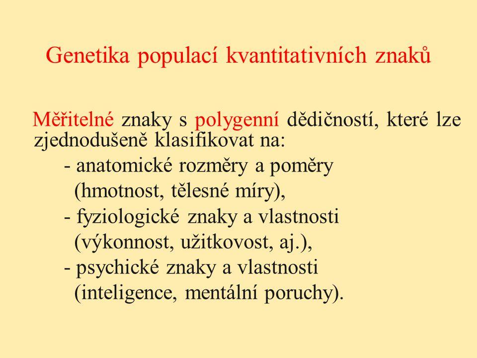 Měřitelné znaky s polygenní dědičností, které lze zjednodušeně klasifikovat na: - anatomické rozměry a poměry (hmotnost, tělesné míry), - fyziologické