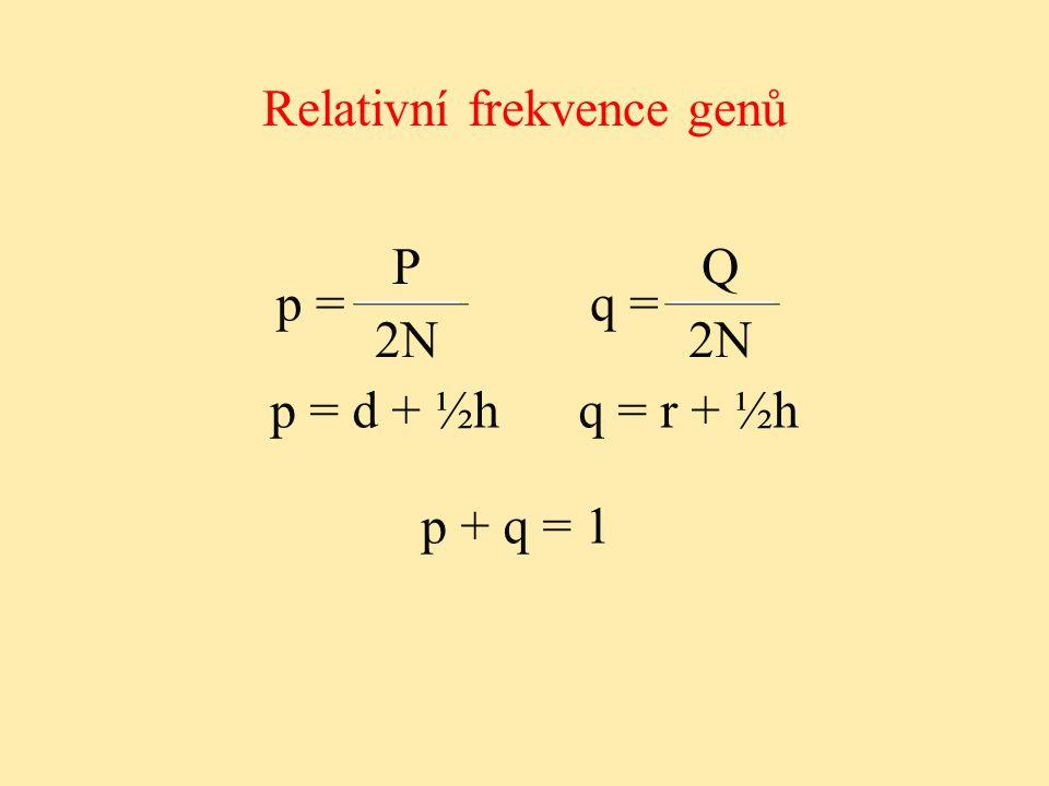 Relativní frekvence genů p + q = 1 p = P 2N q = Q 2N2N p = d + ½h q = r + ½h