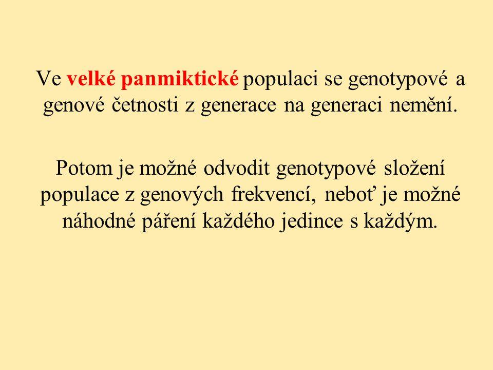 Ve velké panmiktické populaci se genotypové a genové četnosti z generace na generaci nemění. Potom je možné odvodit genotypové složení populace z geno