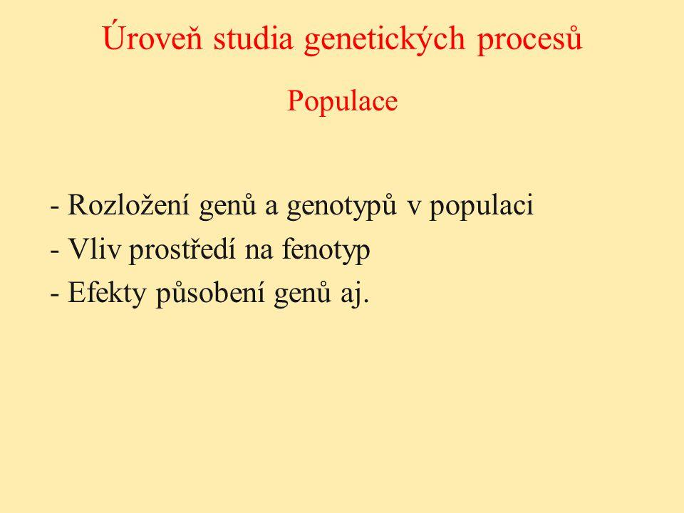 - Rozložení genů a genotypů v populaci - Vliv prostředí na fenotyp - Efekty působení genů aj. Populace Úroveň studia genetických procesů