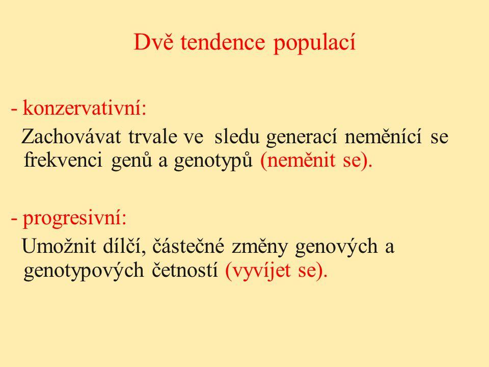 Dvě tendence populací - konzervativní: Zachovávat trvale ve sledu generací neměnící se frekvenci genů a genotypů (neměnit se). - progresivní: Umožnit