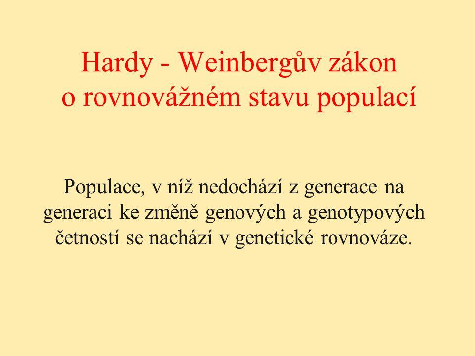 Hardy - Weinbergův zákon o rovnovážném stavu populací Populace, v níž nedochází z generace na generaci ke změně genových a genotypových četností se na