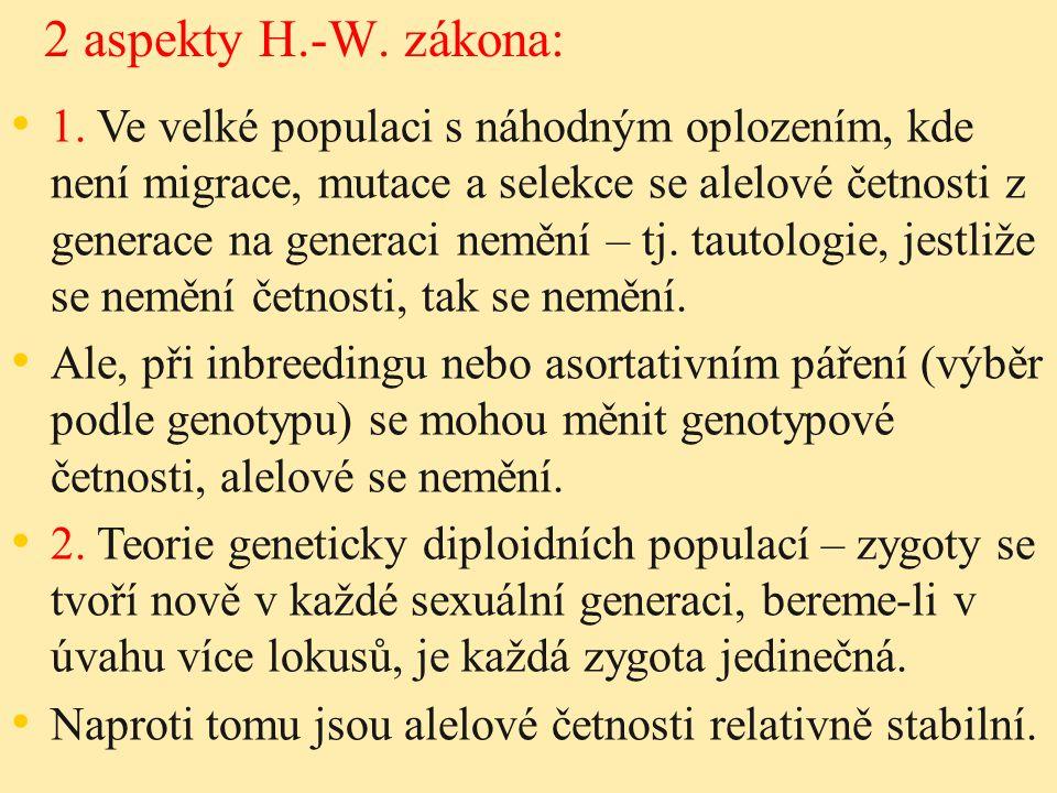 2 aspekty H.-W. zákona: 1. Ve velké populaci s náhodným oplozením, kde není migrace, mutace a selekce se alelové četnosti z generace na generaci neměn