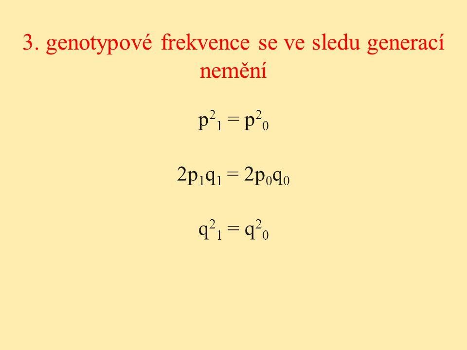 p 2 1 = p 2 0 2p 1 q 1 = 2p 0 q 0 q 2 1 = q 2 0 3. genotypové frekvence se ve sledu generací nemění