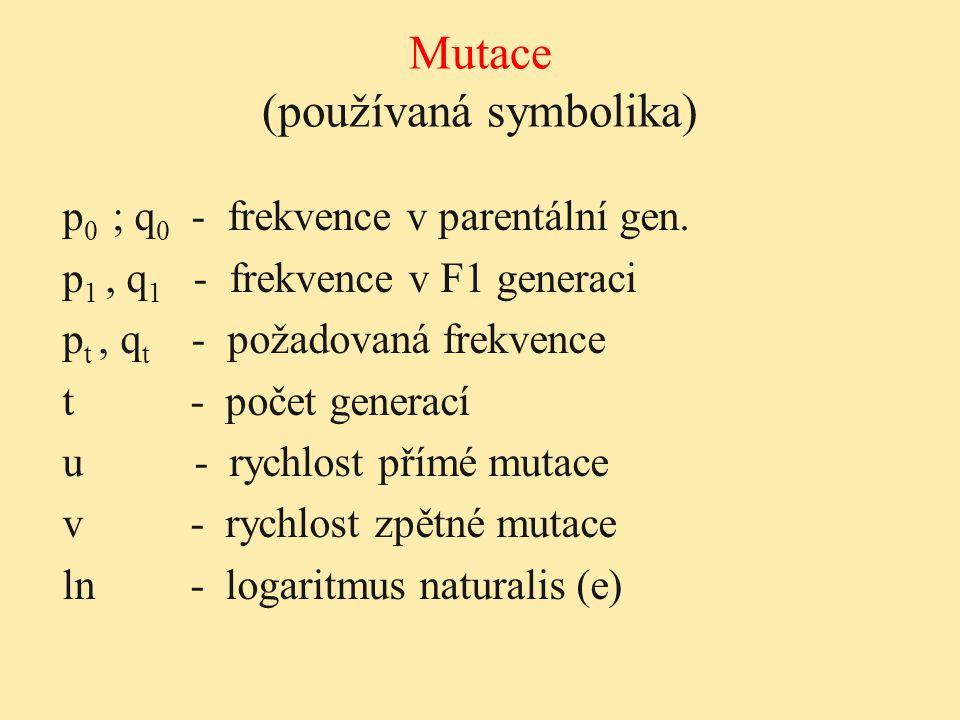 Mutace (používaná symbolika) p 0 ; q 0 - frekvence v parentální gen. p 1, q 1 - frekvence v F1 generaci p t, q t - požadovaná frekvence t - počet gene