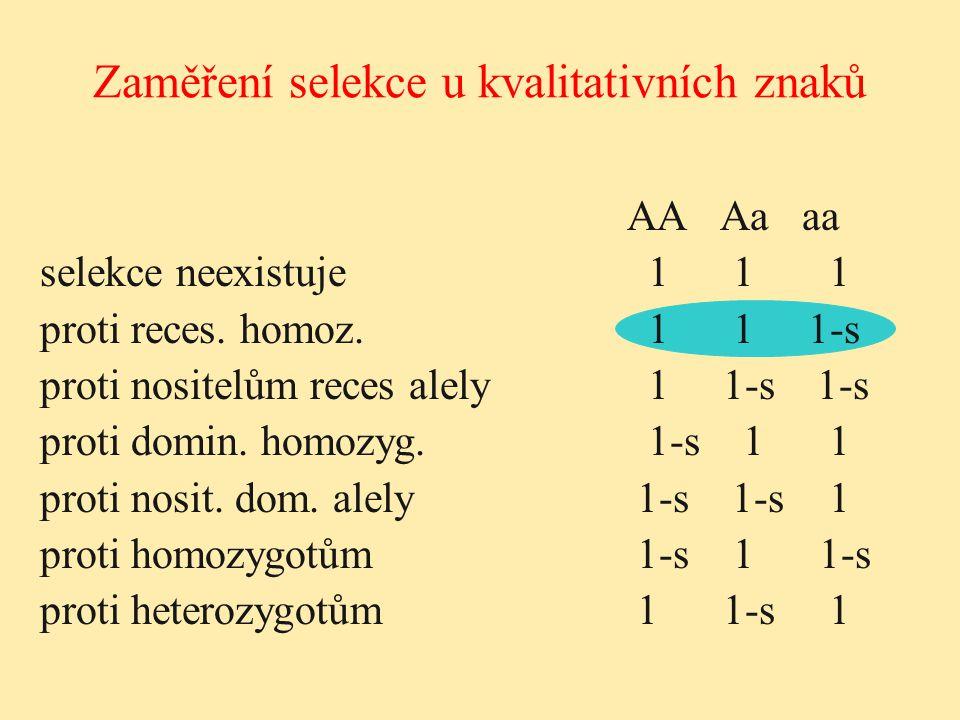 Zaměření selekce u kvalitativních znaků AA Aa aa selekce neexistuje 1 1 1 proti reces. homoz. 1 1 1-s proti nositelům reces alely 1 1-s 1-s proti domi