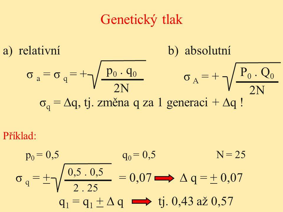 Genetický tlak σ a = σ q = + σ A = + a) relativníb) absolutní σ q = ∆q, tj. změna q za 1 generaci + ∆q ! p 0. q 0 2N P 0. Q 0 2N p 0 = 0,5q 0 = 0,5N =