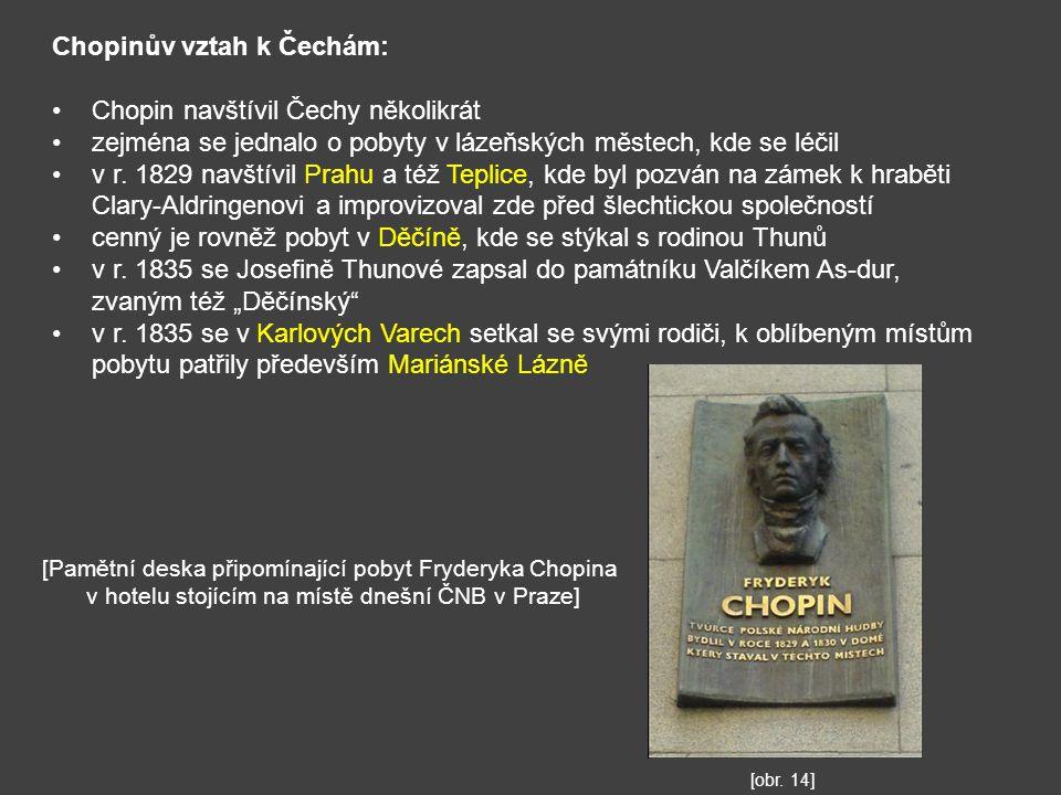 Chopinův vztah k Čechám: Chopin navštívil Čechy několikrát zejména se jednalo o pobyty v lázeňských městech, kde se léčil v r. 1829 navštívil Prahu a