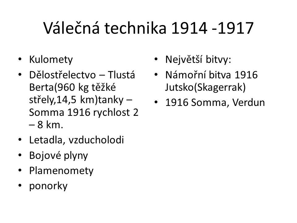 Válečná technika 1914 -1917 Kulomety Dělostřelectvo – Tlustá Berta(960 kg těžké střely,14,5 km)tanky – Somma 1916 rychlost 2 – 8 km. Letadla, vzduchol