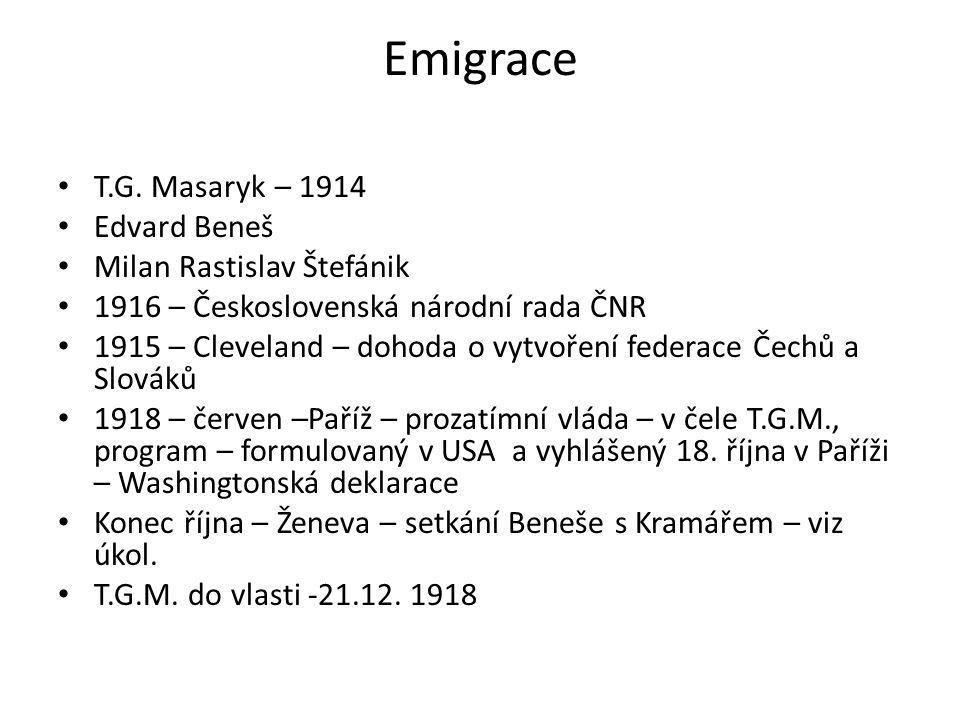 Emigrace T.G. Masaryk – 1914 Edvard Beneš Milan Rastislav Štefánik 1916 – Československá národní rada ČNR 1915 – Cleveland – dohoda o vytvoření federa