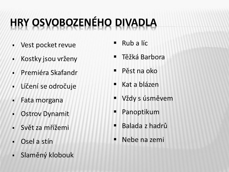  Vest pocket revue  Kostky jsou vrženy  Premiéra Skafandr  Líčení se odročuje  Fata morgana  Ostrov Dynamit  Svět za mřížemi  Osel a stín  Sl