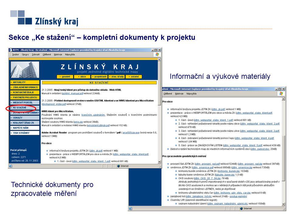 """Sekce """"Ke stažení"""" – kompletní dokumenty k projektu Technické dokumenty pro zpracovatele měření Informační a výukové materiály"""