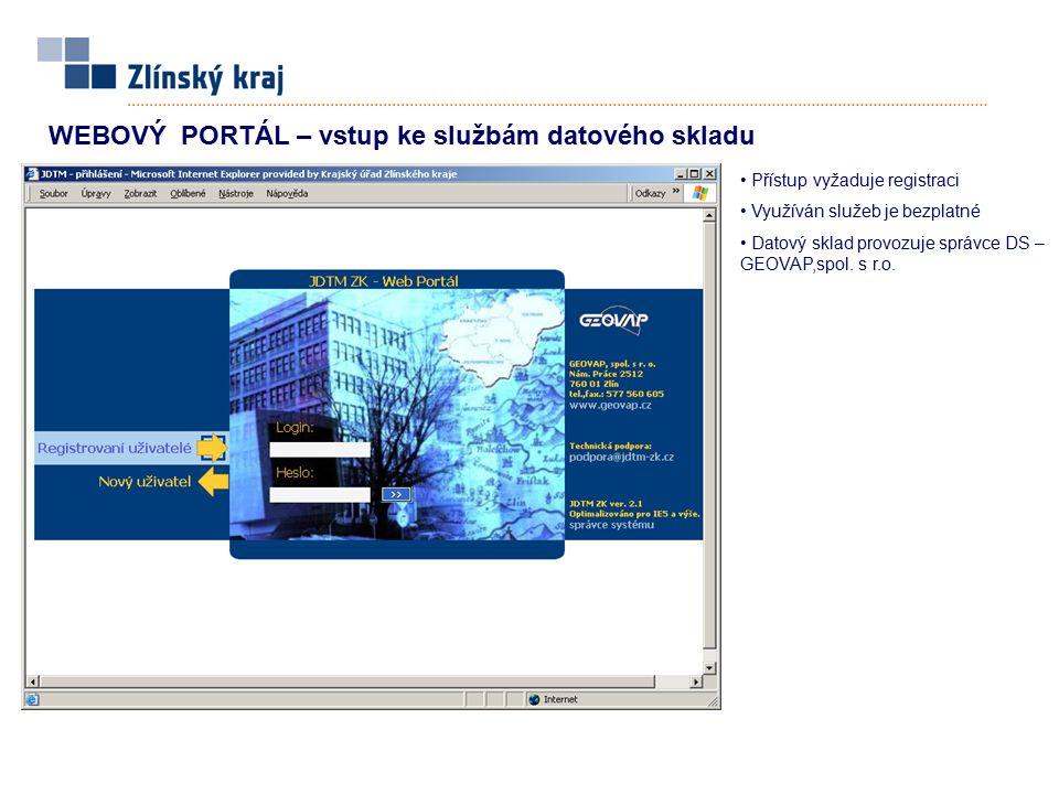 WEBOVÝ PORTÁL – vstup ke službám datového skladu Přístup vyžaduje registraci Využíván služeb je bezplatné Datový sklad provozuje správce DS – GEOVAP,s